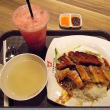 鴨ローストとチャーシューご飯(スープ付き)、スイカジュース