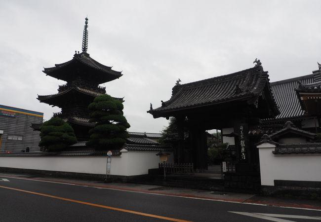 お寺と武家屋敷の残る二王座の街並みの先の三重塔