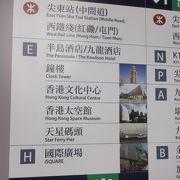 MTR尖沙咀チムサーチョイ駅。九龍地区の主要駅だけど、出口が一杯でわかりにくい