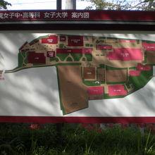学習院旧正門の奥には、女子大等の構内の案内図がありました。