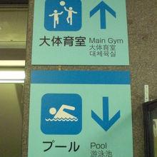 コズミックスポーツセンターの施設の案内です。1階と2階です。