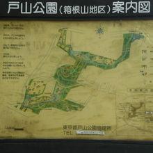 戸山公園(箱根山地区)の配置図です。明治通りの東側です。