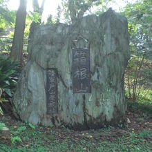 箱根山の裾野に置かれた標石です。戸山学校の関係者の造営です。