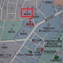 清源寺は、夏目坂から、やや西方向に入った場所にあります。