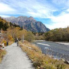 川沿いの遊歩道を歩く