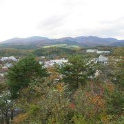 岳温泉街と安達太良山を眺める