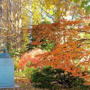 胸像と黄葉紅葉の木々のハーモニーが!