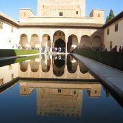 鏡写しが美しい池のある『アラヤネスの中庭』