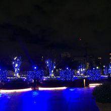 恵比寿ガーデンプレイスの青色イルミネーション右側通路の