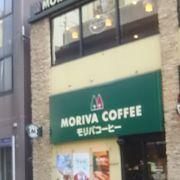 目黒の駅前のアトレの前にあるモリバコーヒー
