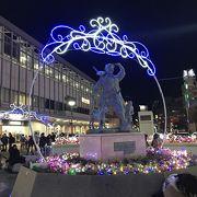 岡山駅前もクリスマスイルミネーションが