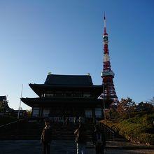 本堂と東京タワー