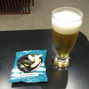 冷えたビールが美味しかったです。