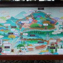境内の案内図。稲荷山は距離が縮小され、実際は1時間