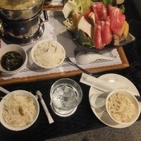 温泉山荘での夕食 しゃぶしゃぶ定食