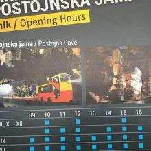 トロッコ列車の時刻表も表示されています