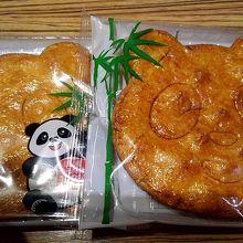 パンダ煎餅です。1枚140円。大人の手のひらの大きさ