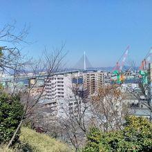 日中の公園からの福岡市内風景