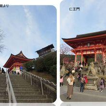 左・茶わん坂からの仁王門