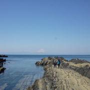 海の断層と富士山