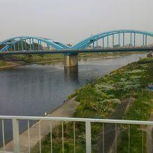 青いアーチ型の鉄橋