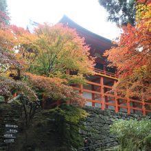 紅葉の横川中堂