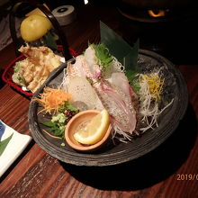 ノドグロ・黒ソイの刺身、スルメイカ天ぷら