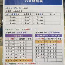 玄関前から出ているシャトルバス時刻表