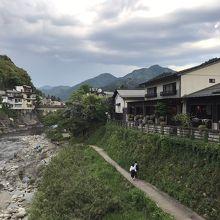 街に沿って流れる綺麗な川