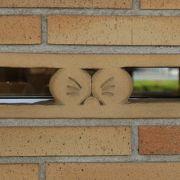 建物の外壁に色々なドラえもんの目がいっぱい