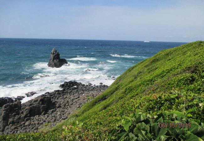 玄海灘に面して切り立つ、ダイナミックな海蝕崖です