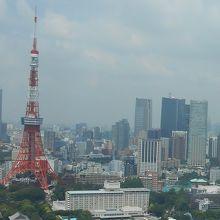 左から六本木ヒルズ、東京タワーと続く東京のスカイラインを一望