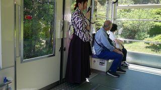 袴のガイドさんがいい雰囲気