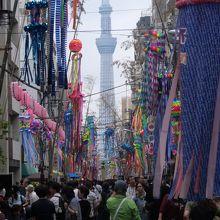 かっぱ橋本通りの真正面には東京スカイツリーが…