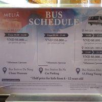 ホイアンへのシャトルバス時刻表 ダナン市内行きもあるようです