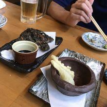 もずくの天ぷらと、島らっきょうの天ぷら