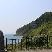 函館山の東南側、ほとんど断崖の岬