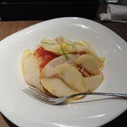 絶品 桃のフルーツパスタ