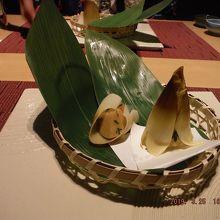 先付 タケノコ2種の食べ比べ 煮物と天麩羅