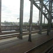 鉄道と歩道がある橋です。