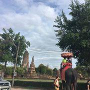 象の背中から見た町と遺跡は一段と忘れられない光景となった