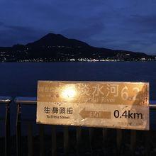 河沿いの説明板と対岸の夜景