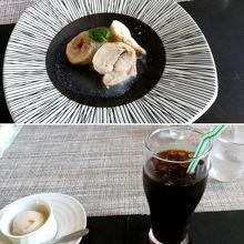 ランチ¥1300 チキンのバロティーヌ ・ほうじ茶プリン