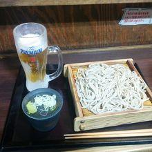 嵯峨谷の十割蕎麦320円&プレモル