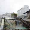目の前が、草津温泉湯畑です。