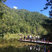 明神池の背後に神山