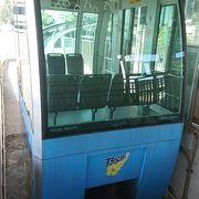高速バス停と地上を結ぶ乗り物、無人、無料です。