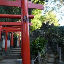 鳩森八幡神社の中の甲賀稲荷社と冨士築山は、有名な史蹟です。