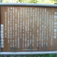 千駄ヶ谷の富士塚に関する東京都の教育委員会の解説板です。