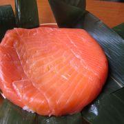 作り立て鱒寿司がとても美味しかった